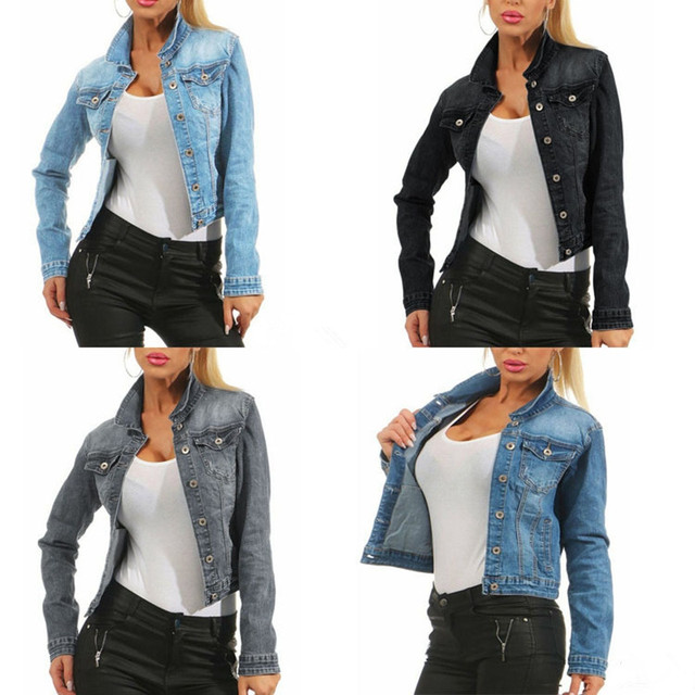 Women Denim Jacket Coat Long Sleeves plus size 3XL