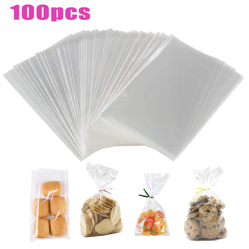 100pcs/pack Transparent Opp Plastic Bags For Candy Lollipop Cookie Packaging Clear Cellophane Bag Wedding Party Gift Bag Open