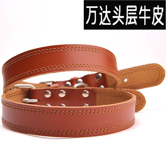 Wanda First Layer Cow Leather Collar Genuine Leather Dog Neck Ring Top Grade Double-Line Soft Leather Dog Collar Dog Pet Collar