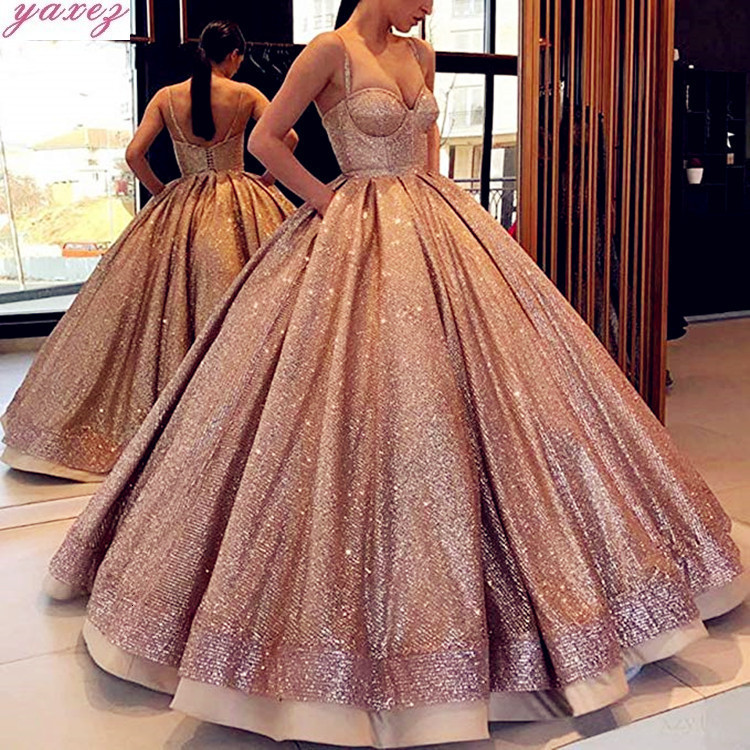 Long Sparkly Glitter Arabic Women fluorescence color Dress 2020 Puffy Ball Gown Spaghetti Strap Rose Gold Formal Evening Gowns