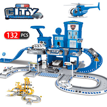 3D City Police Station Railway Alloy Car Play Engineering Fire Truck Track Car DIY Model Building Kits Assembly toys for kids new city police fire station truck spray water gun firemen car building blocks sets bricks model kids toys compatible legoes