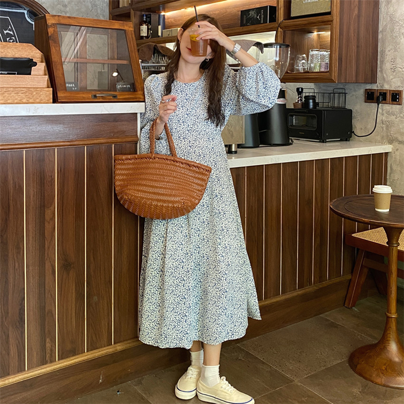 H07dfc171f5d94ed18e4115a0296994c66 - Autumn O-Neck Lantern Long Sleeves Floral Print Midi Dress