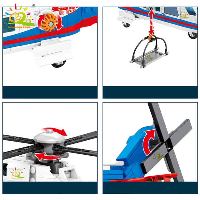 HUIQIBAO 391pcs Sea Rescue Police Helicopter Building Blocks city plane figures Bricks Educational Toys for Children