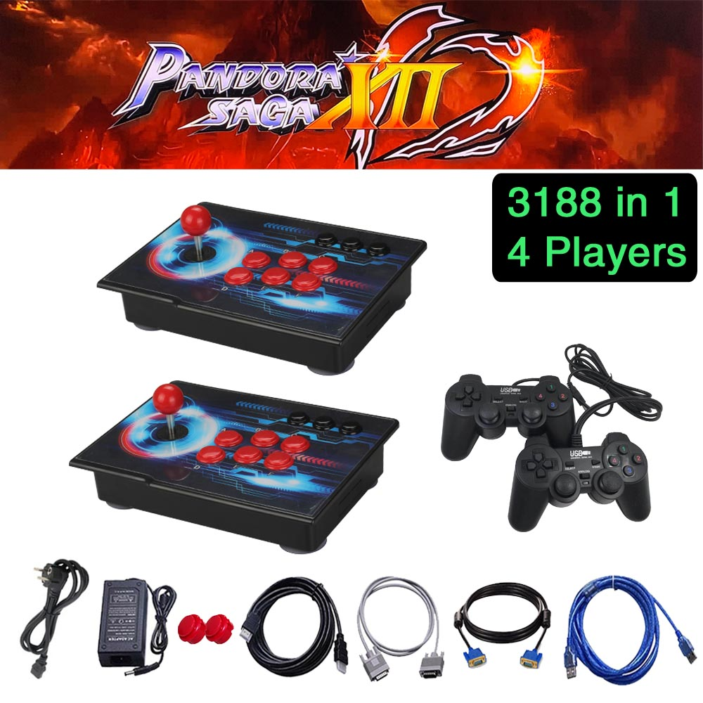Pandora Saga Box 12 Arcade Console 3188 In 1 Zero Delay 2 Players Joystick Controller PCB 3D Games Retro Video Game Machine