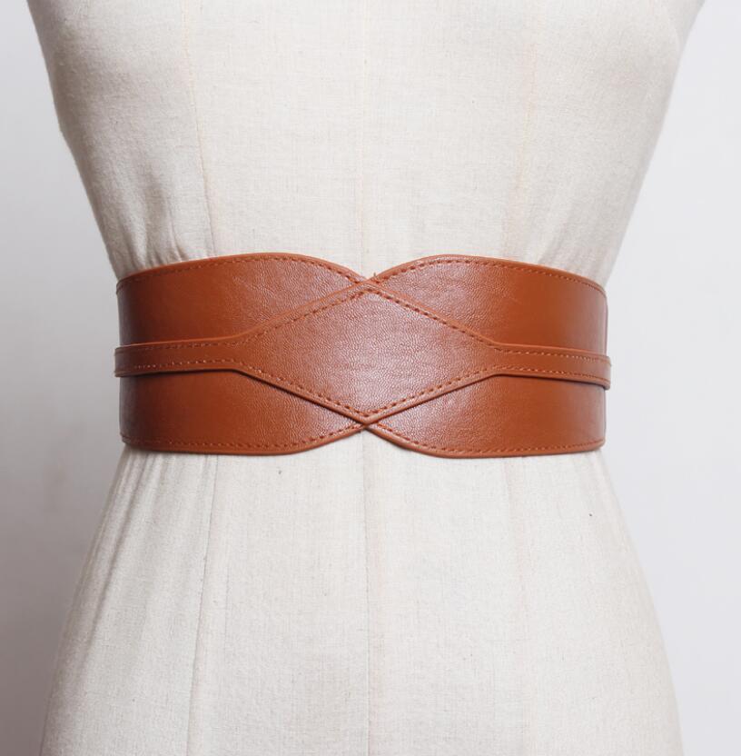 Women's Runway Fashion Pu Leather Elastic Cummerbunds Female Dress Corsets Waistband Belts Decoration Wide Belt R2561