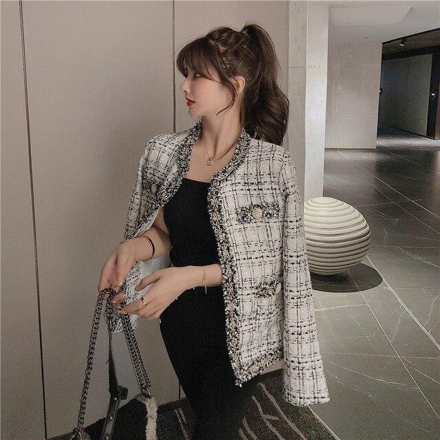 Retro short small Fragrance Jacket Women 2021 Autumn New Korean fashion French jacket Women loose tweed temperament top Female 2