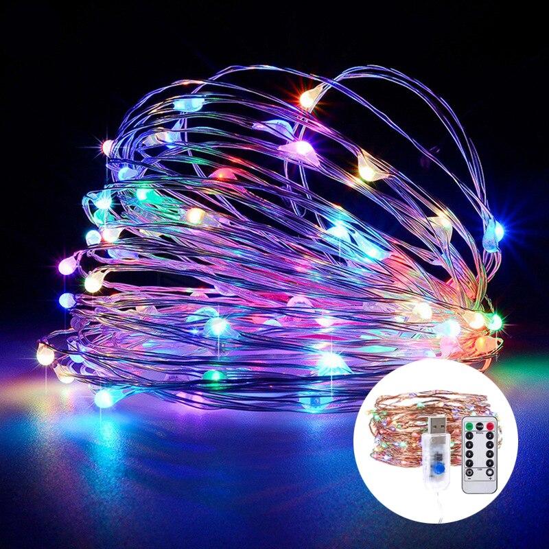 USB светодиодный светильник с дистанционным управлением, 30 м, 20 м, 10 м, 5 м, медный провод, освещение, праздничные украшения, огни, Рождество, свадьба, новый год|Светодиодная лента|   | АлиЭкспресс