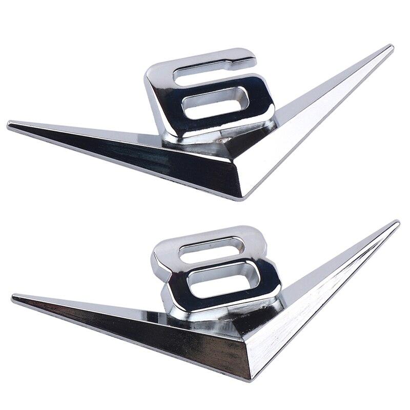 Car Chrome Metal Sale V6 V8 Logo 3D Metal Car Sticker Emblem Badge Rear Trunk Displacement Decoration Styling Accessories
