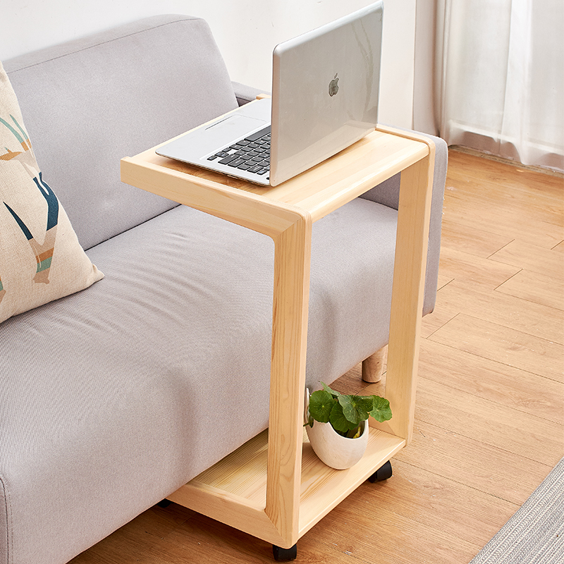 Coffee Table End Table Sofa Side Table Wheel Mobile Computer Desk  for Small C