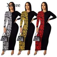 Женское платье с длинным рукавом и принтом зебры длиной до щиколотки