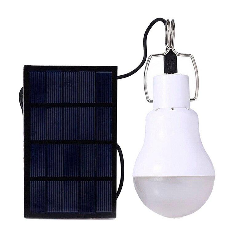 LED lumière Solaire puissance énergie Solaire lampe intérieur panneau étanche d'urgence en plastique ampoule crochet tente lanterne jardin chemin extérieur