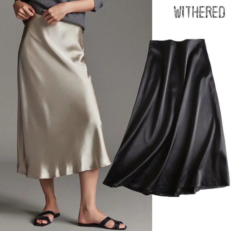 Withered New Autumn Midi Skirt Women England Urban Style Satin Silk High Waist Elegant Faldas Mujer Moda 2019 Long Skirts Womens