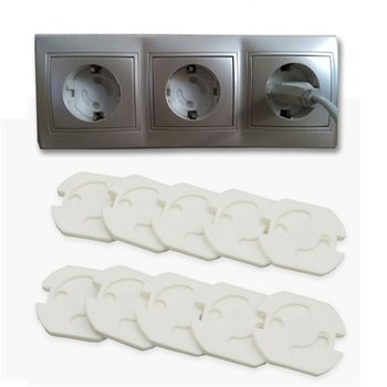 10Pcs/Lot  2 Holes EU Protection Anti Electric Shock Power Socket Electrical Outlet Baby Safety Guard Rotate Cover Sockets Caps 1
