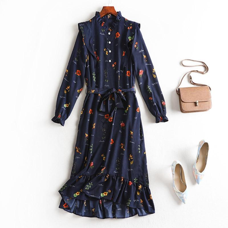 Lan Mu Square Large Size Dress Autumn 2019 New Style Floral Skirt Large GIRL'S Size Waist Hugging Slimming Long Sleeve Skirt 169