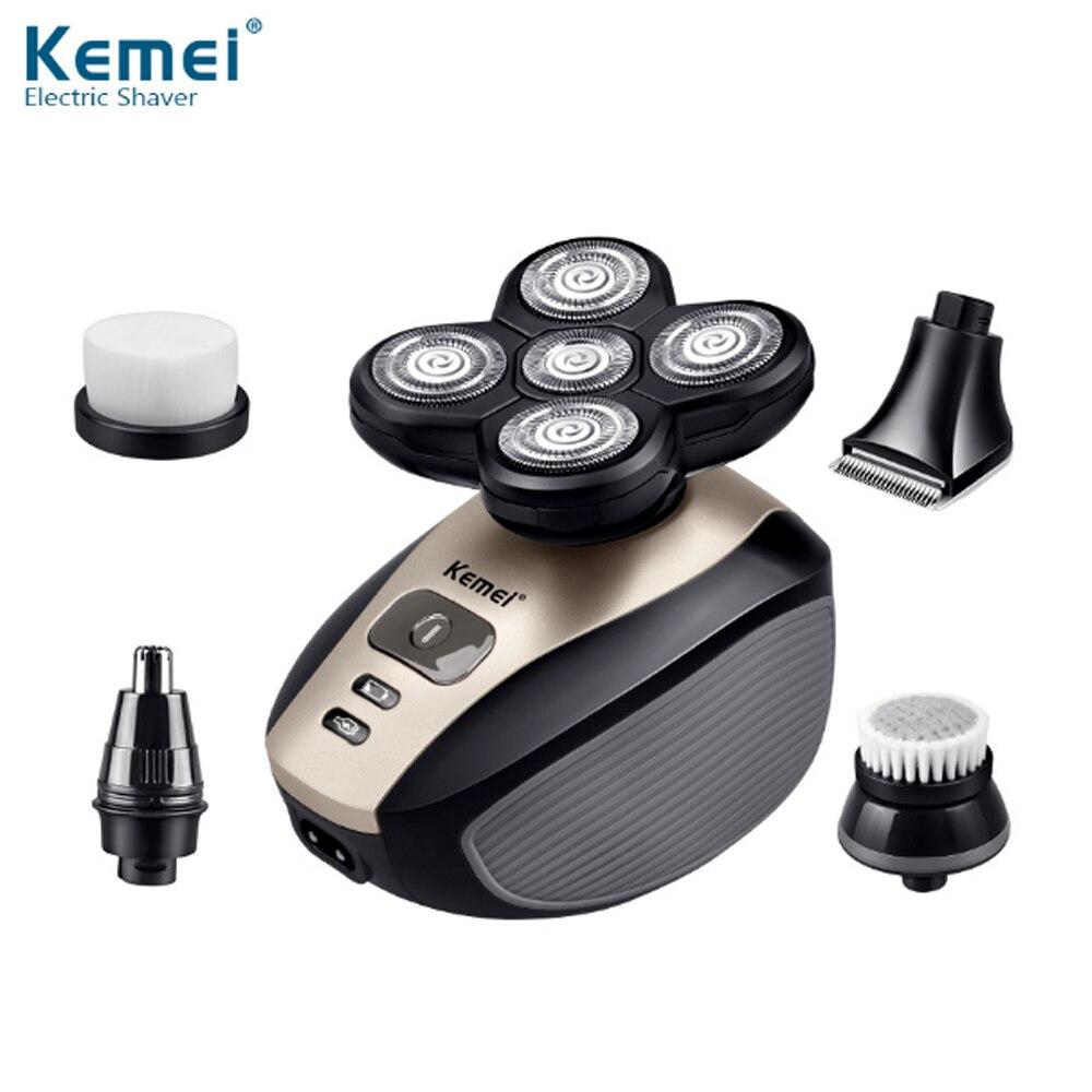 KM-1000 5 en 1 rasoir électrique pour hommes nez tondeuses cheveux tondeuse rasoir électrique lavable 4D lame flottante