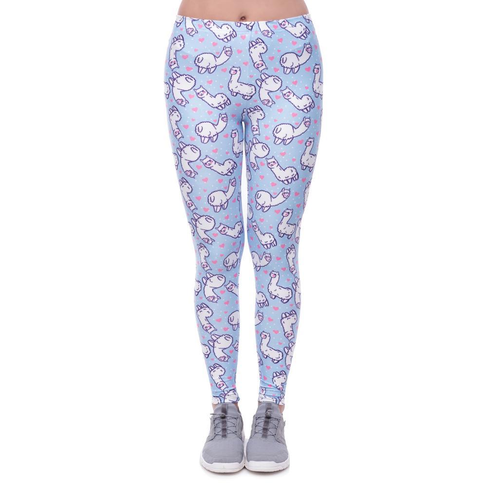 Loving Alpaca  Polyester Leggings Push Up Fashion Pants High Waist Workout Jogging For Women Athleisure Training Leggings