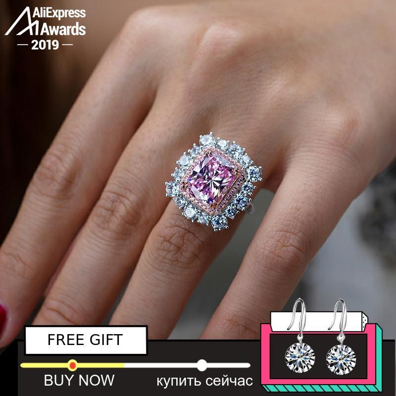 Pas faux 12*10mm bague en diamant taille rayonnante S925 argent sterling mariage fin citrine saphir améthyste rubis couleur diamant