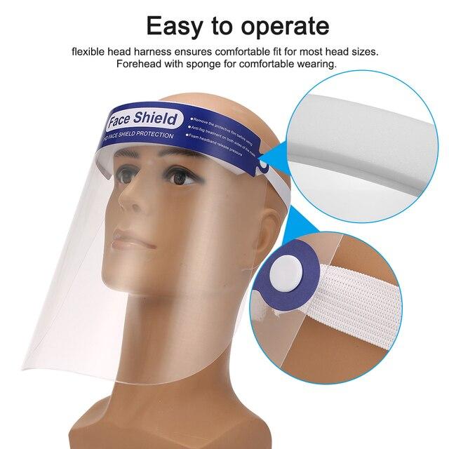 20pcs Transparent Protective Mask Full Face Shield Masks Particulate Respirator Hat Mask Saliva Transmission transparent Masks
