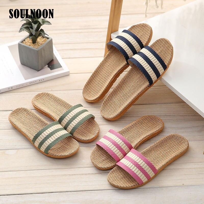 Men Women Flax Slippers Flat Flip Flops Summer Couple Slides Home Indoor Shoes