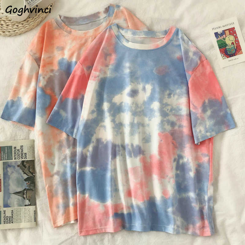 Korte Mouw T-shirts Vrouwen Tie-Dye O-hals Chic Plus Size 2XL Oversize Tees Tieners Womens Harajuku High Street Ulzzang ins Tops