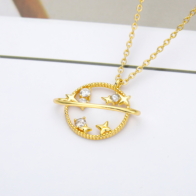 Planet Star Pendant Necklace For Women Gold Silver Color