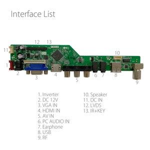 Image 2 - T. driver de tv universal led v53.03, placa para controlador de tv/pc/vga/hdmi/usb + 7 teclas cabo 6bit lvds + 1 inversor russo skr