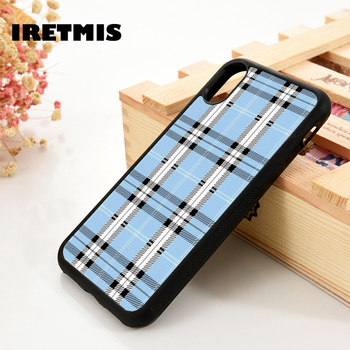 Iretmis 5 5S SE 6 6S Soft TPU Silicone Rubber phone case cover for iPhone 7 8 plus X Xs 11 Pro Max XR Blue Plaid