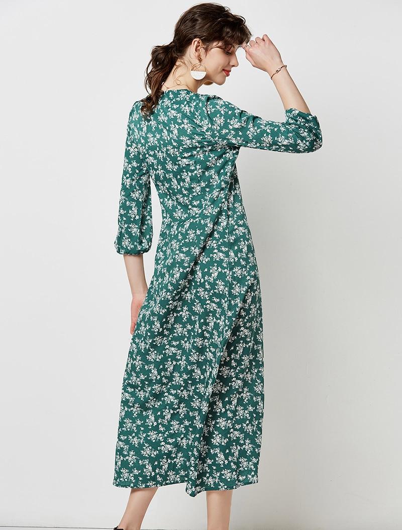 Autumn Elegant Floral Print Midi Dress Women 19 V Neck Button Casual Tunic Shirt Dress Lantern Sleeve Split Boho Long Dress 13