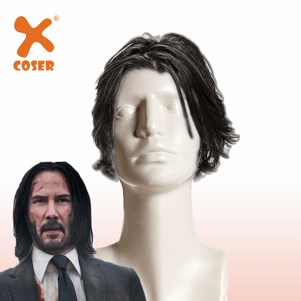 Xcoser John Wig Cosplay Wig With Coin Cosplay Accessory Movie Costume Prop Christmas Halloween Cosplay Props Headwear Gift