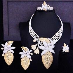 Godki Luxe Grote Bloem Bud Vrouwen Party Oorbel Armband Ring Ketting 4 Stuks Sets Afrikaanse Gouden Bruiloft Kostuum Sieraden