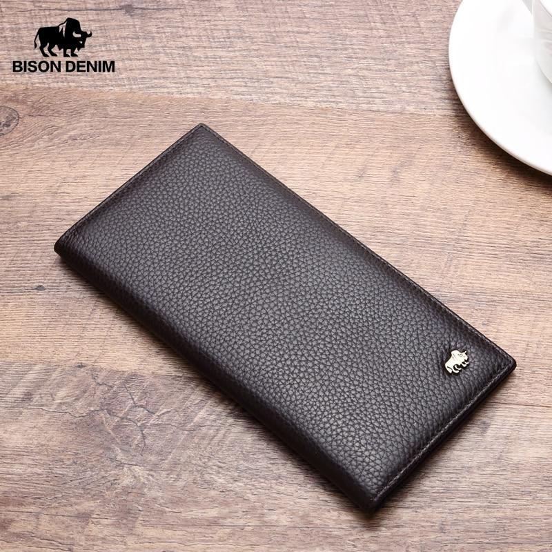 BISON DENIM Cowskin Long Purse For Men Wallet Business Men's Thin Genuine Leather Wallet Brand Design Slim Wallets N4470&N4391