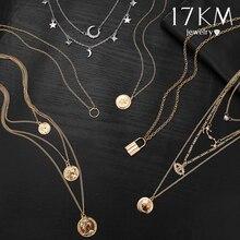 17KM, бохо, золотое ожерелье, s подвески для женщин, Ретро стиль, Y Lock, луна, жемчуг, звезда, ожерелье,, женский воротник, колье, модное ювелирное изделие