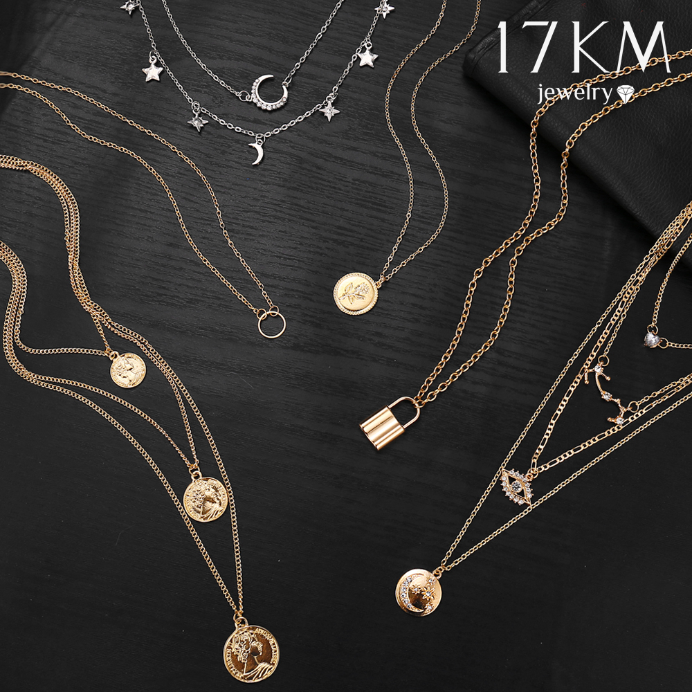 17KM Boho Gold Necklaces Pendants For Women Vintage Y Lock Moon Pearl Star Necklace 2019 Female Collar Choker Fashion Jewelry(China)