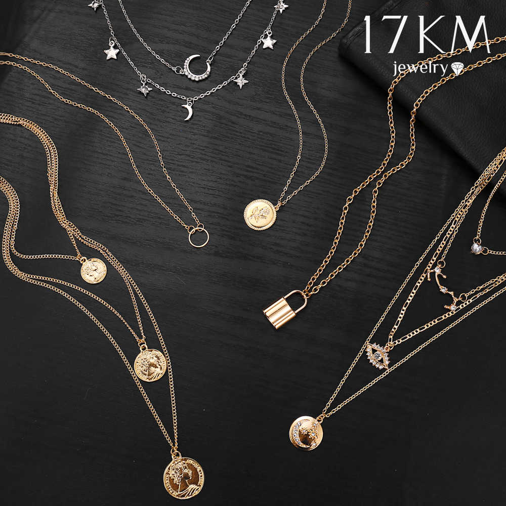17KM Vintage Gold Necklaces Pendants For Women Collar Lock Moon Pearl Star Necklace 2019 Female Multilayer Boho Fashion Jewelry