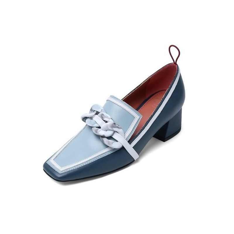 Pompen Schoenen Woman 2020 Lente/Herfst Nieuwe Vierkante Hak Vierkante Teen Mary Janes Mode Echt Lederen Slip-On party Vrouwen Schoenen