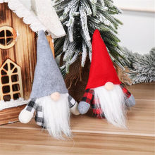 2020 Christmas Decorations Forest Elderly Knitted Hat Standing Doll Christmas Faceless Elderly Doll Santa Cloth Doll Present L*5(China)