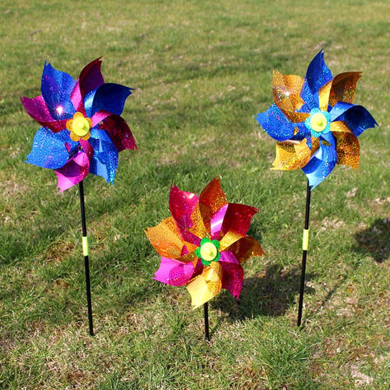 2 Pcs/Set Wind Spinner Glitter Glow Windmill Colorful Garden Decoration Party Kids Children Toys Pinwheel Outdoor Games Gifts