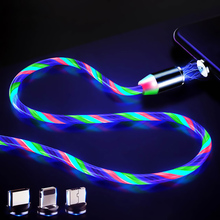 LED Glow Flowing Magnetic Charger Cable Luminous Lighting Fast Charging Micro USB Type C For iPhone Android Phone USBC Wire Cord ги де мопассан лучшие новеллы сборник