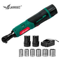 LANNERET Electric Ratchet Wrench Cordless Rechargeable Wrench 16.8V 3/8  Scaffolding 70NM Torque Ratchet With Sockets Sleeve