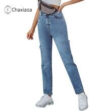 Mom Jeans Pant Trouser Hole Denim High-Waisted Fashion Women Autumn Casual CHAXIAOA X412