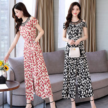Lace Jumpsuits for women fashion Sexy short Sleeve One piece Rompers female printing Nine points Long Wide Leg Pant floral nine points sleeve hollow lace dress