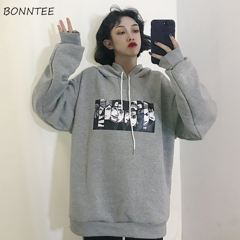 Hoodies Women Hooded Solid Cartoon Printed Loose Full Sleeve Womens Hoodie Soft All-match Leisure Harajuku Simple Trendy Student