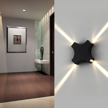 LED Garden Four Head Wall Lamp 12W Cross Star 4 Side Lighting Waterproof IP65 For Indoor Or Outdoor Decoration Wall Sconce