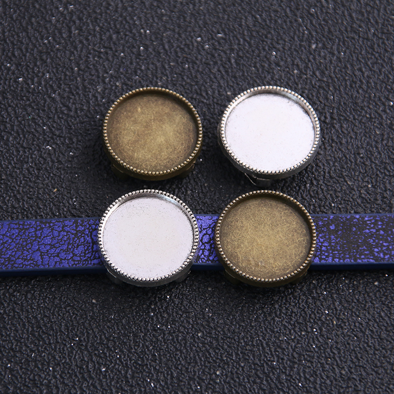 8pcs 16mm Inner Size Two Color Tooth Round Leather Slider Beads Blank Cabochon Setting Diy Bracelet Making