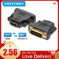 Vention DVI a HDMI adaptador bidireccional DVI D 24 + 1 macho a HDMI hembra convertidor de Cable conector para proyector HDMI a DVI