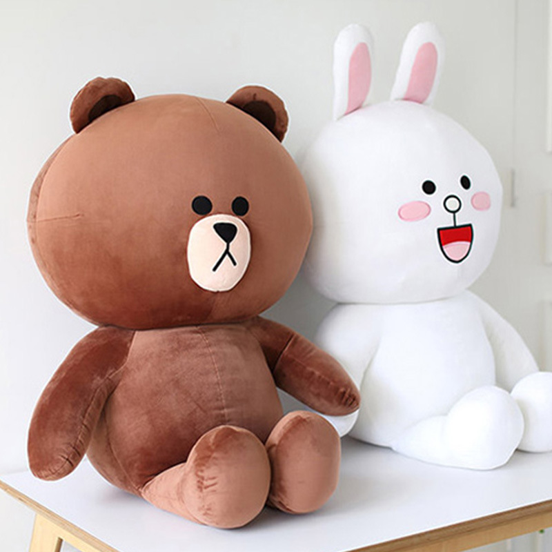 Line Series Brown Bear And Cony Rabbit Plush Pillow Toy Lovely Cartoon Doll For Girlfriend Birthday Gift Children's Day Present