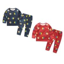 Осенне-зимний Повседневный детский воздушный шар с длинными рукавами и принтом, бархатные пижамы комплект детской одежды из двух предметов