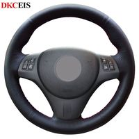 DIY بها بنفسك مخيط يدويا أسود لينة الجلود الاصطناعية عجلة توجيه سيارة غطاء لسيارات BMW E92 M3 2009-2013