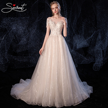 SERMENT Luxury Royal Wedding Dress Off The Shoulder Applique Cathedral 100cmCrystal White Style Embroidery Flower Lace Neck Line