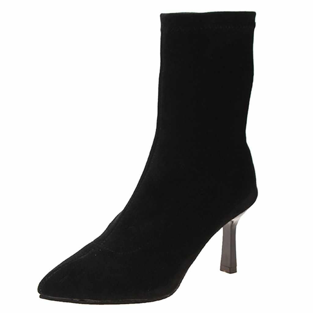אירופאי סגנון נשים סקסי גבירותיי הבוהן מחודדת חורף מוצק צבע גרבי מגפיים להחליק על צאן חם פגיון עקבים אמצע פיר מגפיים